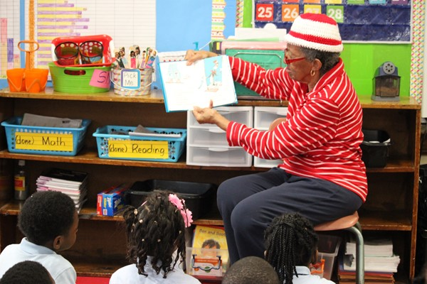 Mrs. Byrd reads to students