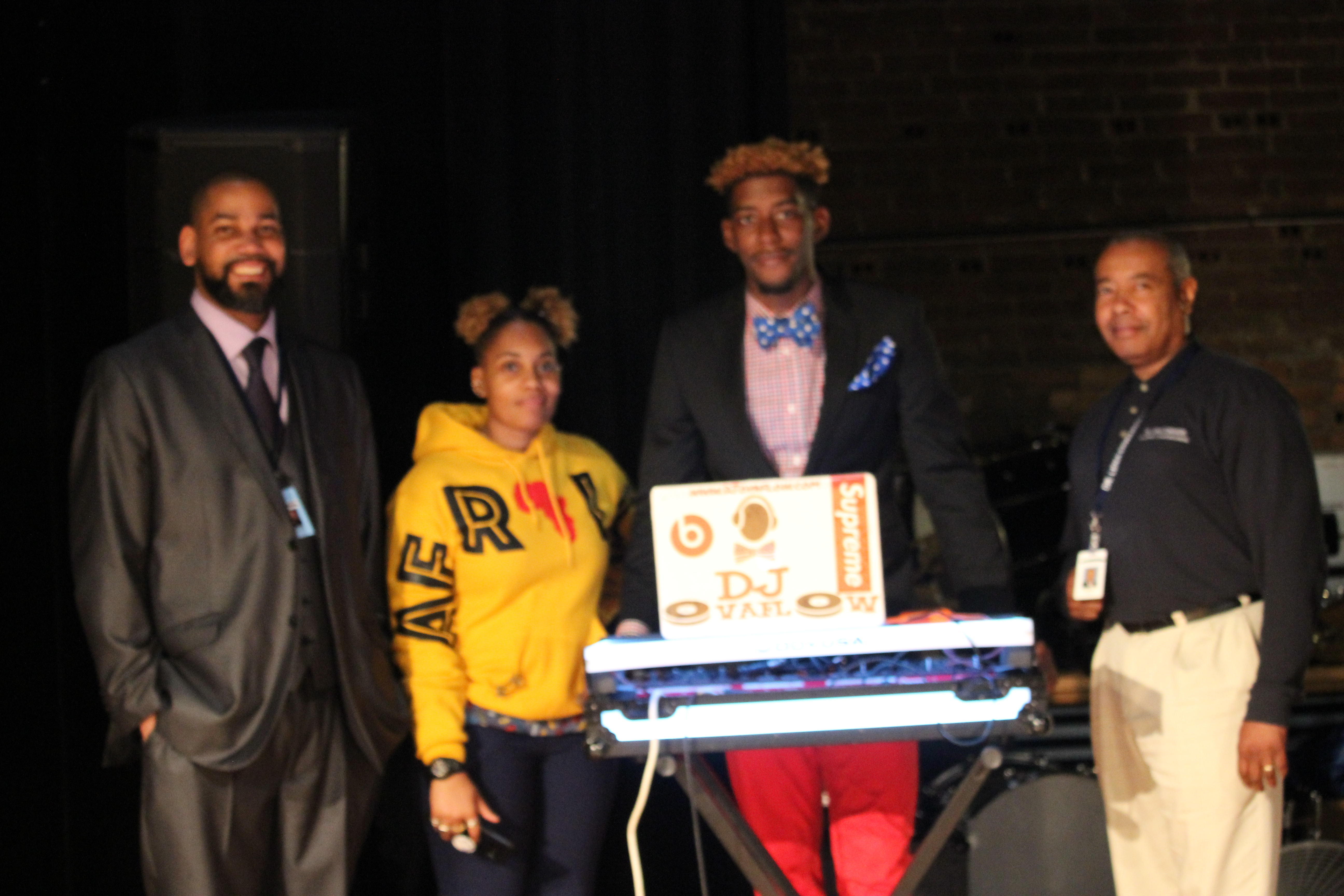 Mr. Brewer with DJ Ovaflow, Ms. Wright and Mr. Johnson